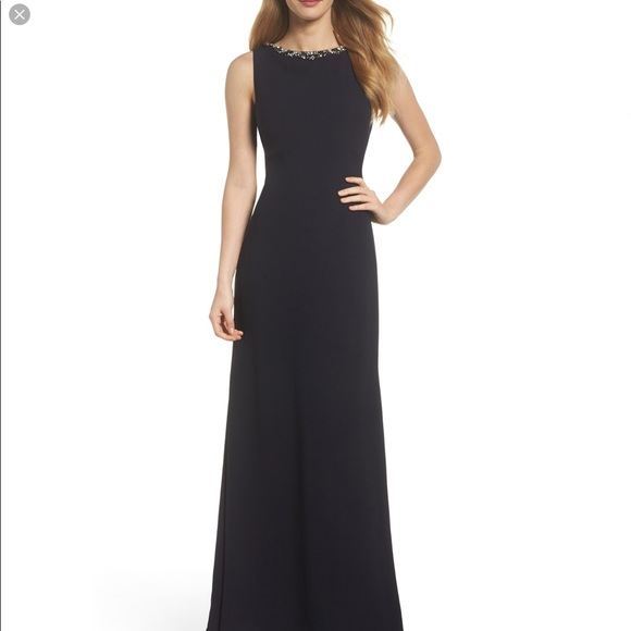 25dcec70 Vince Camuto Dresses | Embellished Ruffle Back Crepe Gown | Poshmark
